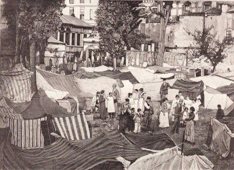 1894 depremi sonrası Galata'da kurulan çadırlar.