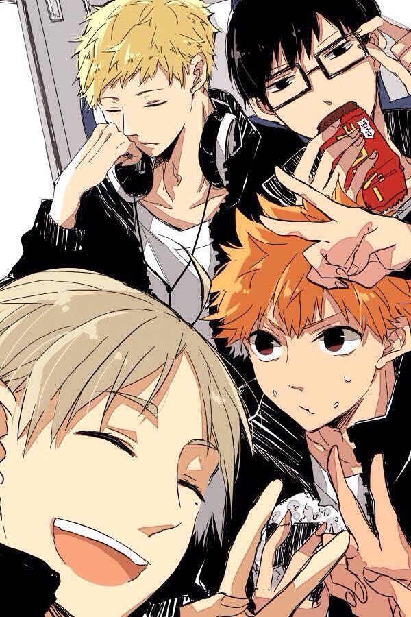 Haikyuu - Tsukishima, Hinata, Kageyama, and Sugawara (lol Kageyama stealing Tsukishima's glasses while he sleeps)