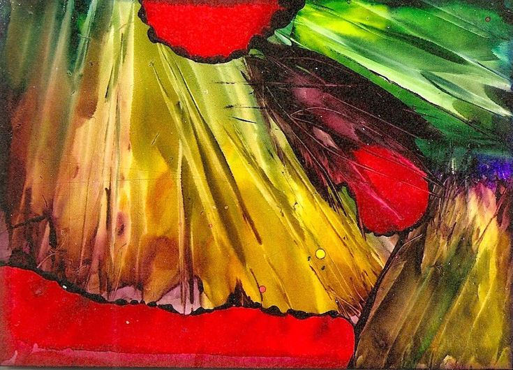ACEO Abstract Painting Alcohol Ink Original Miniature Art by Penny Lee StewArt #ContemporaryArt