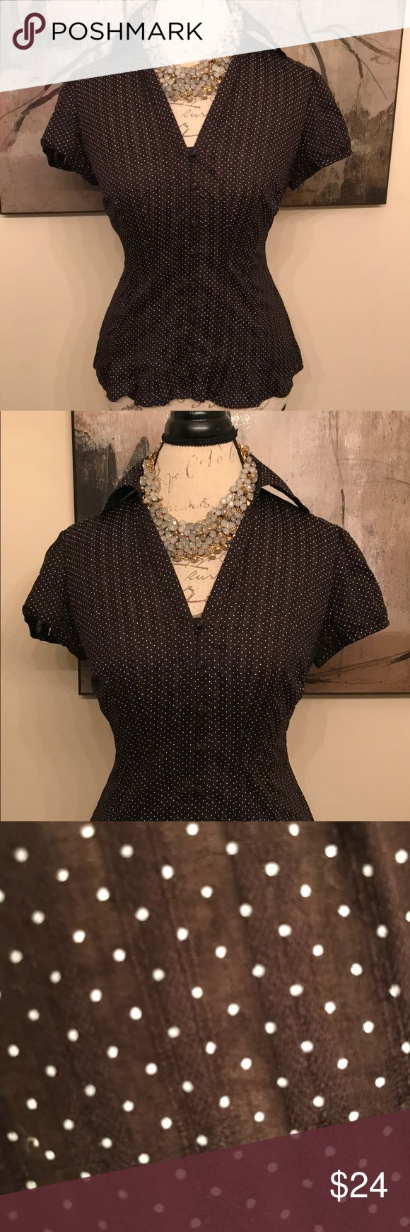 FEMININE brown polka dot short sleeves blouse! 🌸 ROMANTIC, fun and flirty!!! This short sleeved polka dot Boise from Ann Taylor goes literally anywhere you do!!! Ann Taylor Tops Blouses