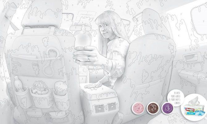Лучшая печатная реклама мая  Влажные салфетки Huggies Потому что для вашего ребенка весь мир — это большая раскраска.