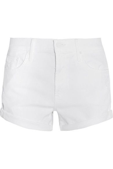 Mother - The Teaser Distressed Stretch-denim Shorts - White - 26