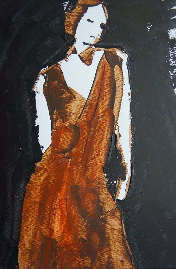 Young woman in love. Original painting. Minimalist by ankaGilding