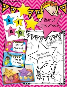 "Each week I will choose a new student to be my ""Star Student of the Week."" I created this set of materials to help make this a simple task. This star student set comes with a ""Star Student of the Week"" book for students to take home and return to school."