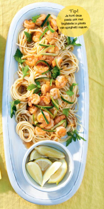 Recept voor spaghetti met garnalen en courgette
