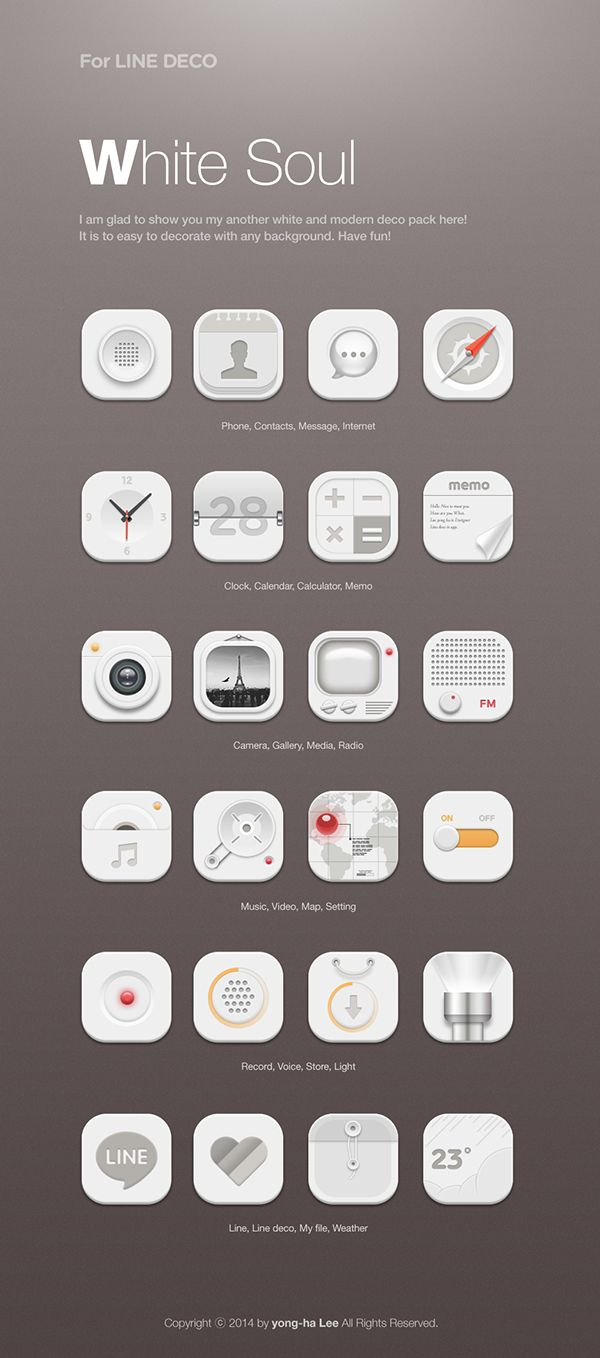 [NHN_CAMP MOBILE] White soul icon set design by Lee Yong Ha, via Behance