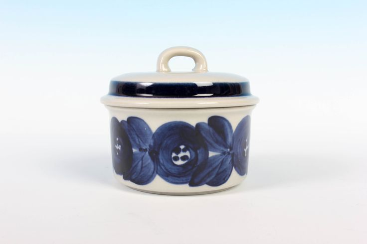 """Sugar Bowl 4"""" (10cm) with Lid - Blue Anemone - Arabia Finland - Ulla Procope - Hand Decorated - Scandinavian Dishware by ThePapers on Etsy"""