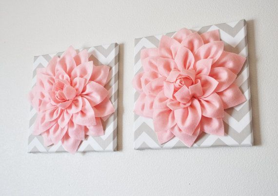 TWO Wall Flowers -Light Pink Dahlia on Taupe and White Chevron 12 x12 Canvas Wall Art- Baby Nursery Wall Decor- via Etsy