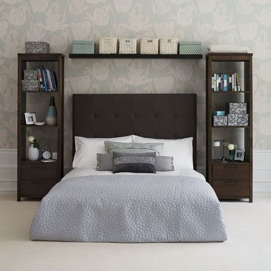 White washed shelves and a rustic barn-board headboard would make this chic, clean bedroom setup look a little more country. MUST DO.