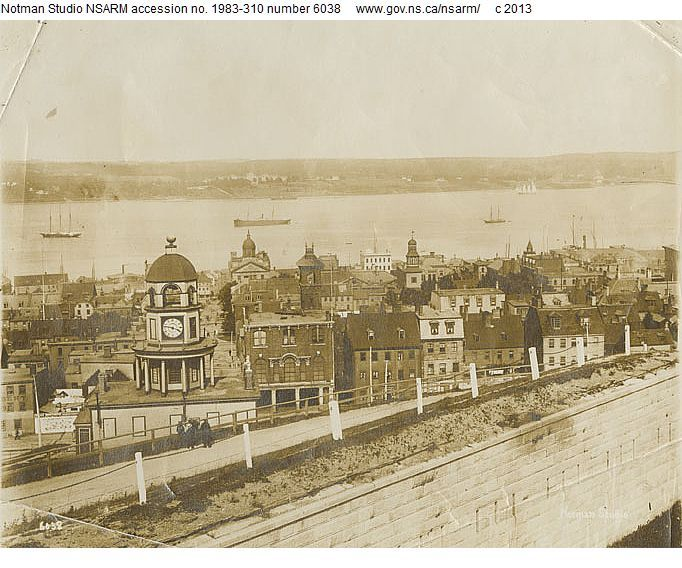 View of Halifax, Nova Scotia from the Citadel looking east towards the Old Town Clock and including the Central Engine Station on the corner...
