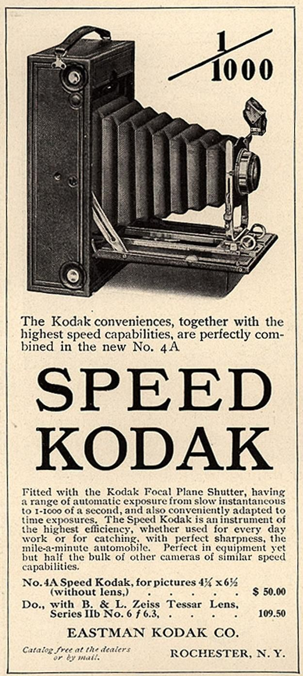 Speed Kodak, No. 4A. Country Life in America magazine ad. 1909.  Advertising Ephemera Collection - Database #K0101  Emergence of Advertising On-Line Project  John W. Hartman Center for Sales, Advertising & Marketing History  Duke University David M. Rubenstein Rare Book & Manuscript Library  http://library.duke.edu/digitalcollections/eaa/
