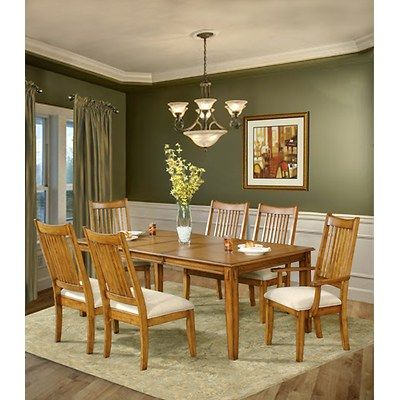 7 piece oak dining room sets south furnishings for Light oak dining furniture