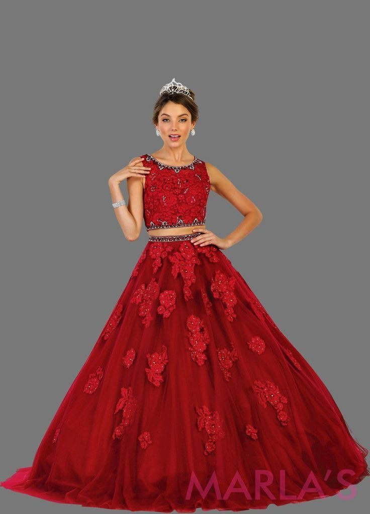 bde6ea83d4fce Long two piece burgundy red ball gown with white lace pattern. Perfect for  Engagement dress, Quinceanera, Sweet 16, Sweet 15, Debut and dark red  Wedding ...