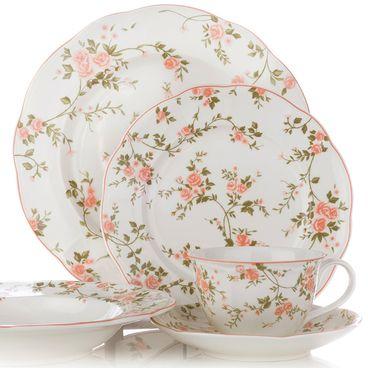 Mobexpert set veselă, ceramica, 35 piese roz La bonita