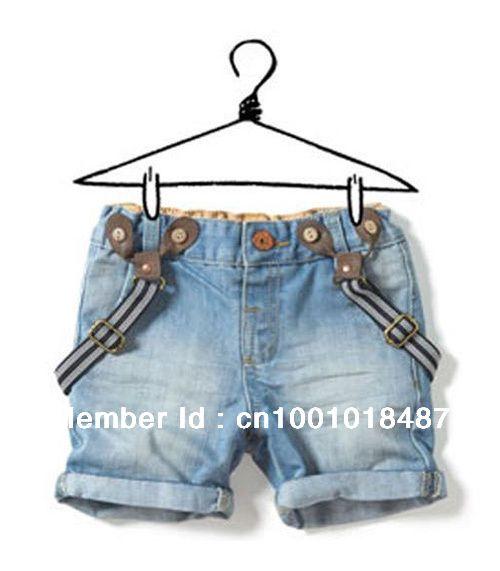 Jp001 детские джинсы короткие комбинезоны мальчики девочки подтяжки летние шорты джинсовые целом для детей в розничная US $14.99