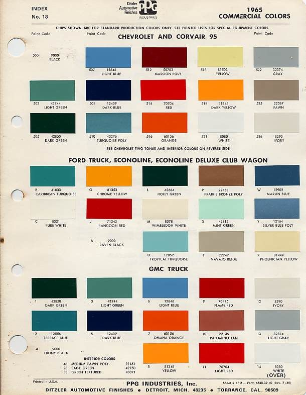 1966 chevy truck factory color code - The 1947 - Present Chevrolet