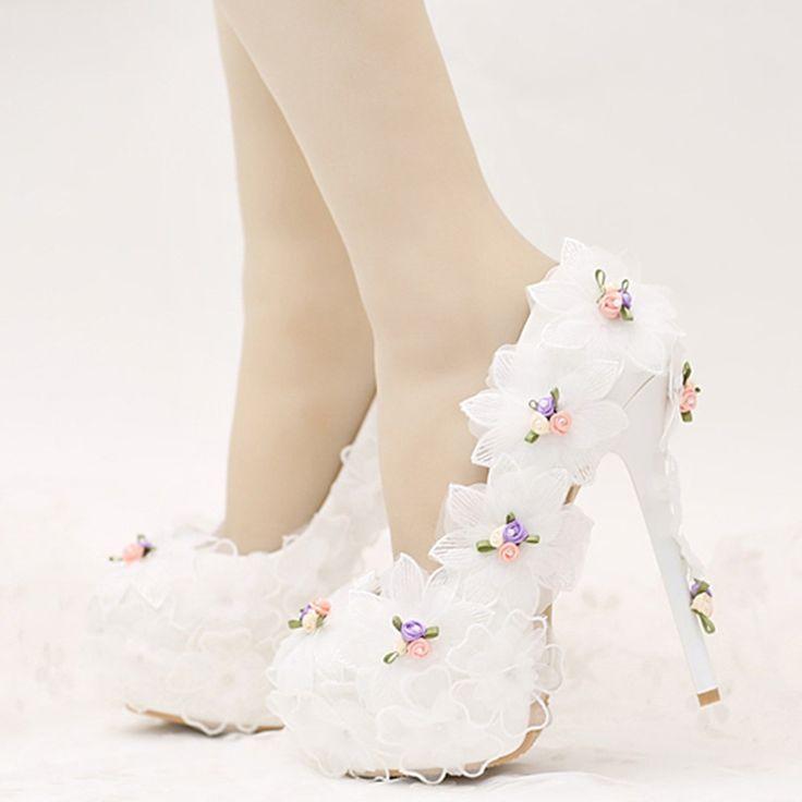 Shoespie Dreaming Floral Appliqued Bridal Shoes