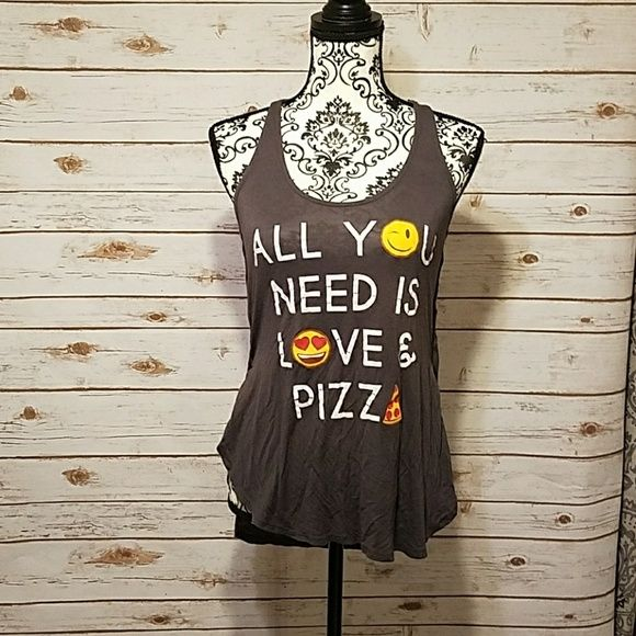 recycled karma Tops - All you need is love and pizza emoji shirt!