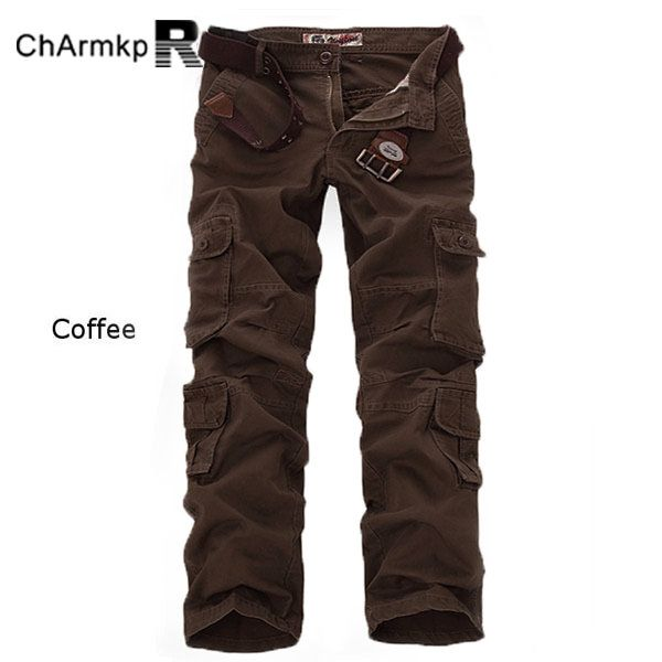 ChArmkpR Men's Military Outdoor Loose Large Size Cotton Multi-pockets Casual Cargo Pants