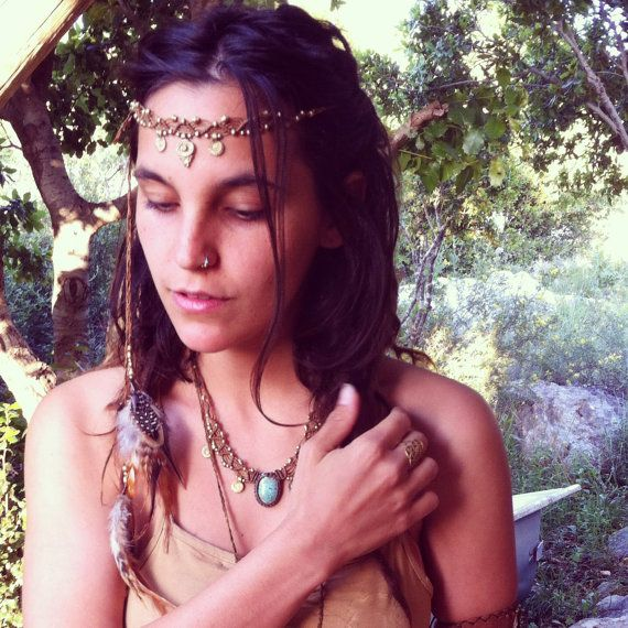 EARTHY Tribal Princess Macrame headband with by ArtOfGoddess