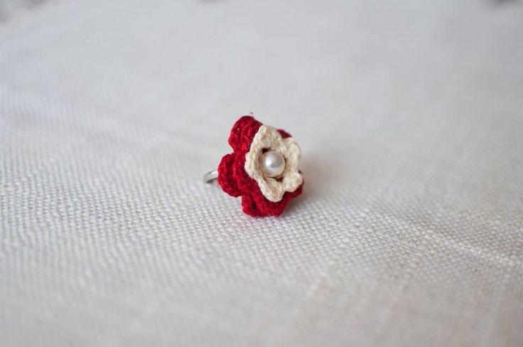 3D crocheted flower ring