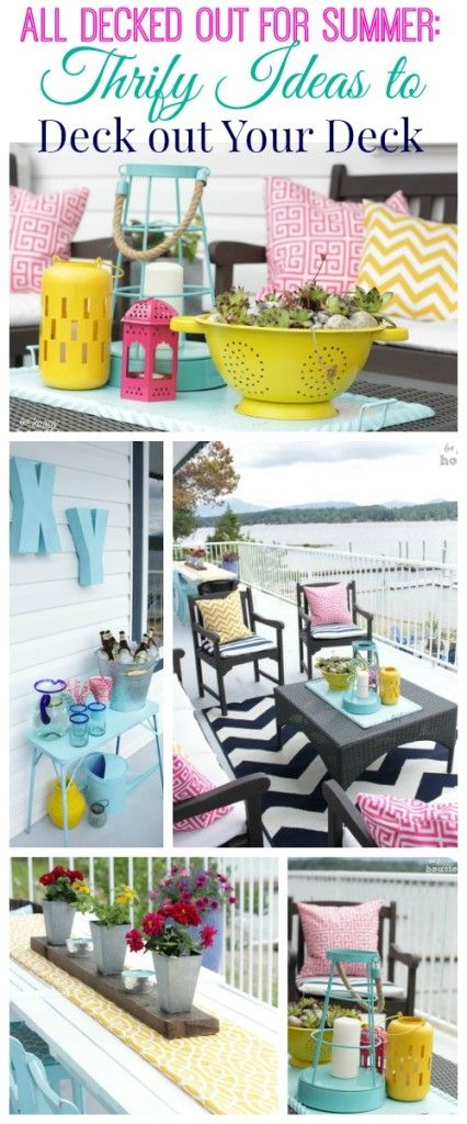 Thrifty Ideas to Deck out Your Deck decorate your deck without breaking the bank at The Happy Housie