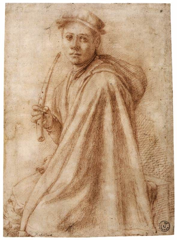Jacopo PONTORMO,   Youth with a Recorder (recto -) 1541-43 -  Red chalk, 272 x 196 mm / Galleria degli Uffizi, Florence