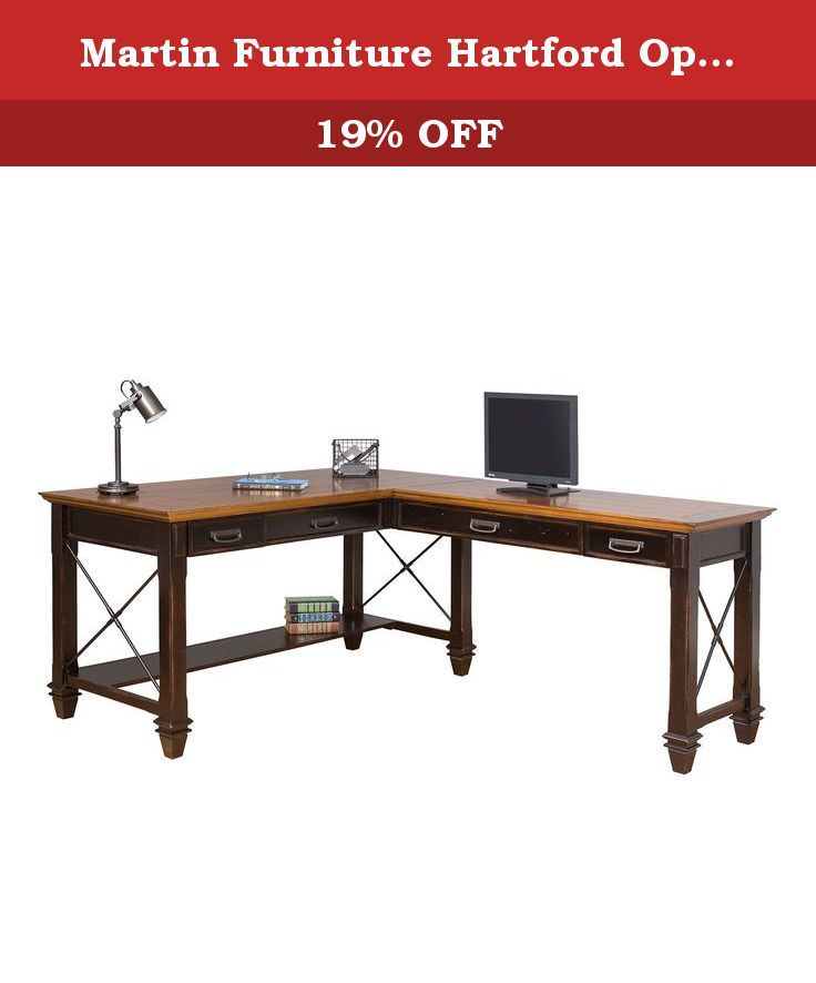Martin Furniture Hartford Open L-Shaped Desk, Brown. The Hartford collection combines bold lines with a weathered, vintage finish and classic style elements. The warm, hand applied two toned rubbed black finish gives Hartford the relaxed feel of old world wood, while wire mesh details add a formal element. The Hartford collection will be right at home in either a classic formal setting or a relaxed, eclectic home. The writing desk includes two center drawers with drop down fronts to hold…