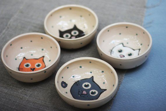 Cat Bowl Kitty Faces Ceramic Bowls With Cats Pottery Plates Set Small Dinnerware Sets Funny Childs Ceramic Bowls Pottery Plates Pottery
