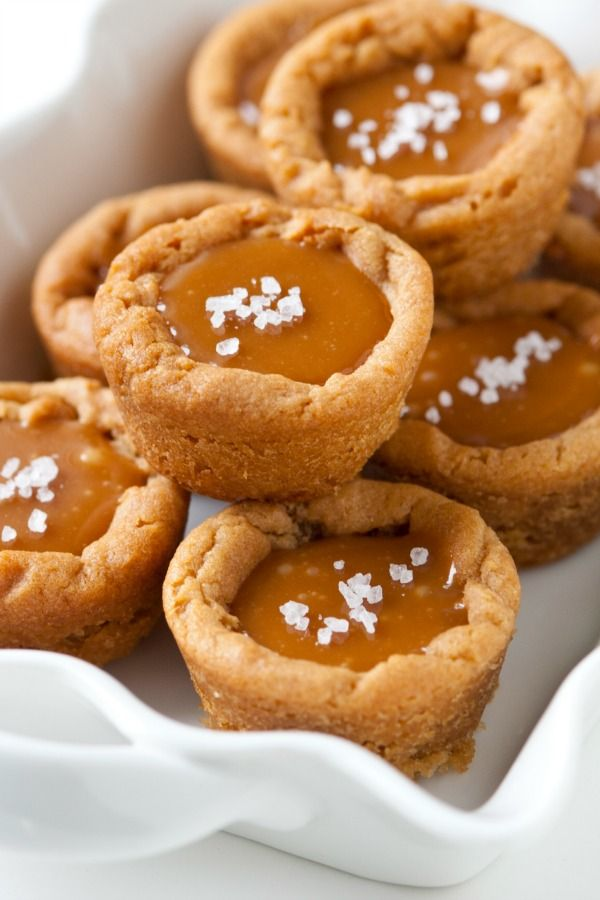 Cookie cups with sweet creamy caramel and sea salt!