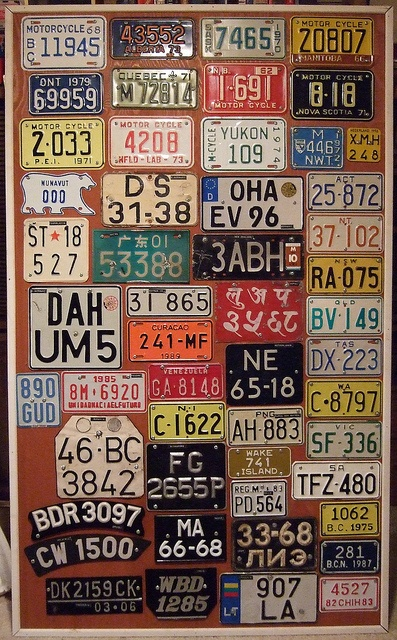 One of my license plate display boards showing Canadian and some foreign motorcycle license plates.     Tips and info about (motorcycle|  motorcycles|  motorcycle accessories|  motorcycle parts|  kawasaki w800|  motorcycle driving tips|  motorcycle helmets|  motorcycle safety tips) at http://www.motorcyclesmessage.com