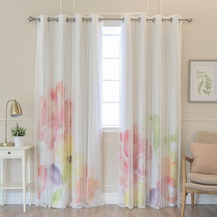 Best Home Fashion 84 in. L uMIXm White Tulle and Faux Silk Multi Watercolor Blackout Curtain Panel (4-Pack), Multi Colored Floral Watercolor White
