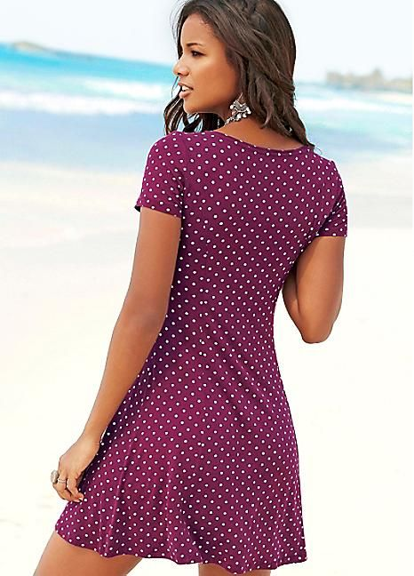 Red Polka Dot Printed Beach Dress by Beachtime
