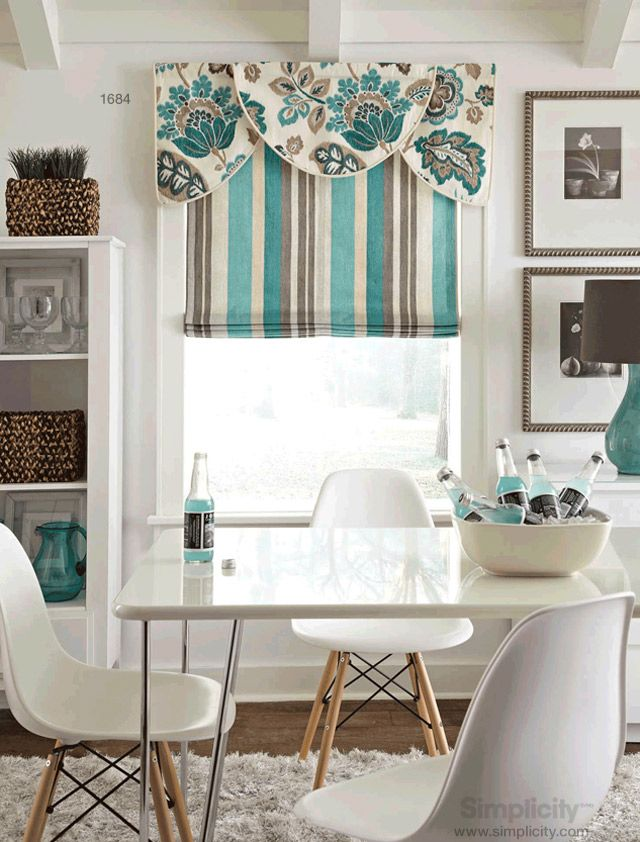 Create a variety of window treatments with a combination of tailored roman shades and an array of valances: standard rod pocket, scallop and tri-valance styles. DIY with Simplicity sewing pattern 1684.