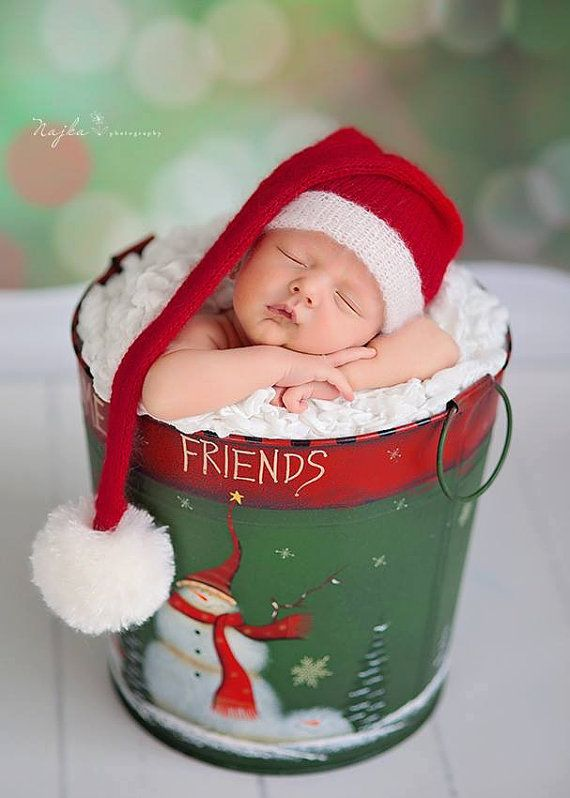 Santa Claus  hat  newborn photo prop. Santa sleepy cap.