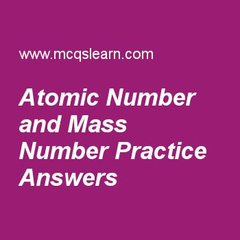 Atomic Number and Mass Number Practice Answers