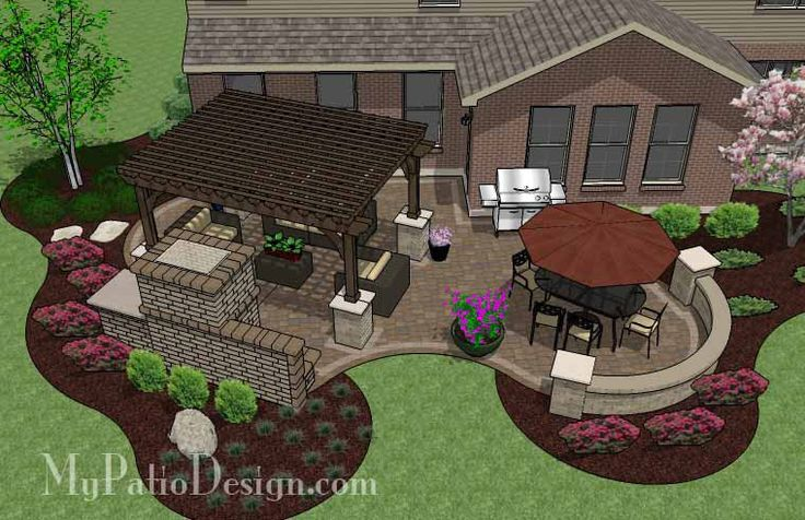 Curvy Outdoor Living Design with Pergola and Fireplace   630 sq ft   Download Installation Plan, How-to's and Material List @Mypatiodesign.com