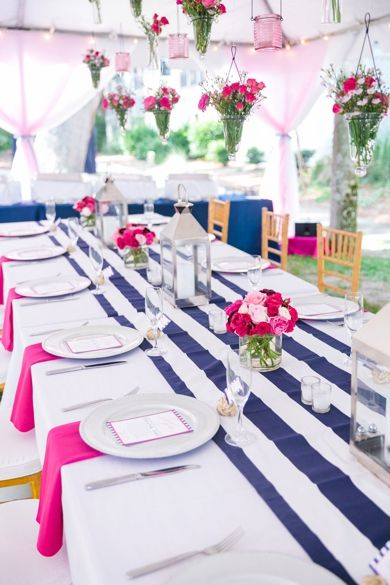 Tablescape with lanterns // Nautical Navy + Bright Pink Wild Dunes Resort Intimate Summer Wedding in Charleston SC // Dana Cubbage Weddings // Charleston SC + Destination Wedding Photographer