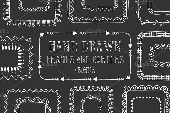 Hand drawn frames and borders by Anatartan Design on @creativemarket