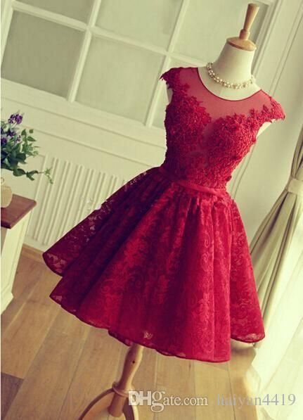2016 New Cocktail Dresses Illusion Neck Cap Sleeves Lace Appliques Beaded Burgundy Short Homecoming Dress Party Dress Prom Gowns For Women Online with $119.6/Piece on Haiyan4419's Store | DHgate.com