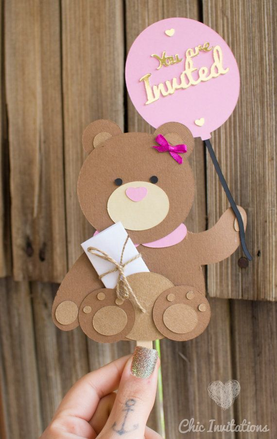 Teddy Invitation Bear Invitation Birthday by ChicInvitationsByCA