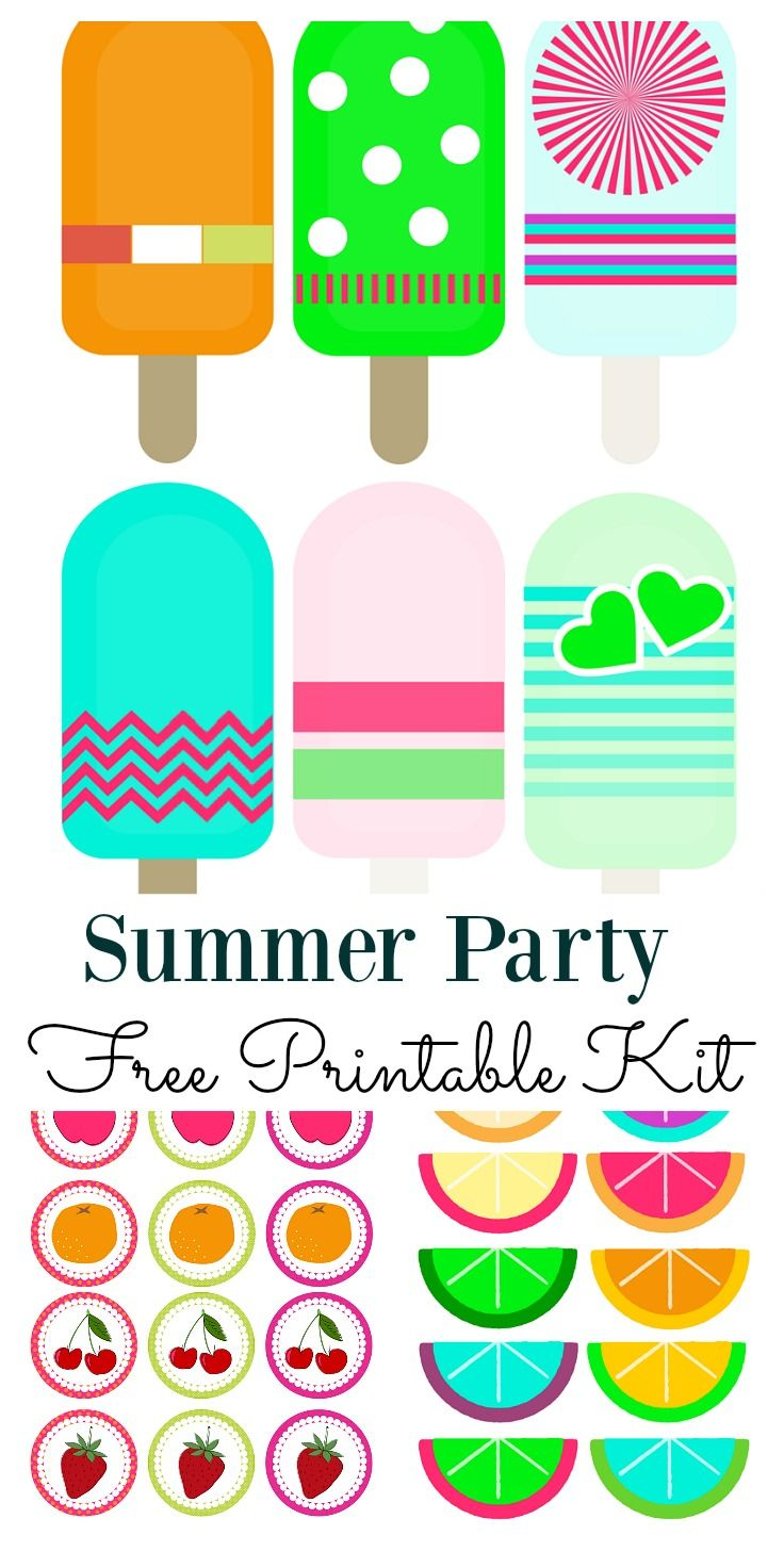 Use this summer party printable kit for all your social gatherings.  It includes cupcake toppers, and printable's for you to craft your own labels, gift tags or garlands.  They will brighten up any summer party decoration and definitely put a smile on you