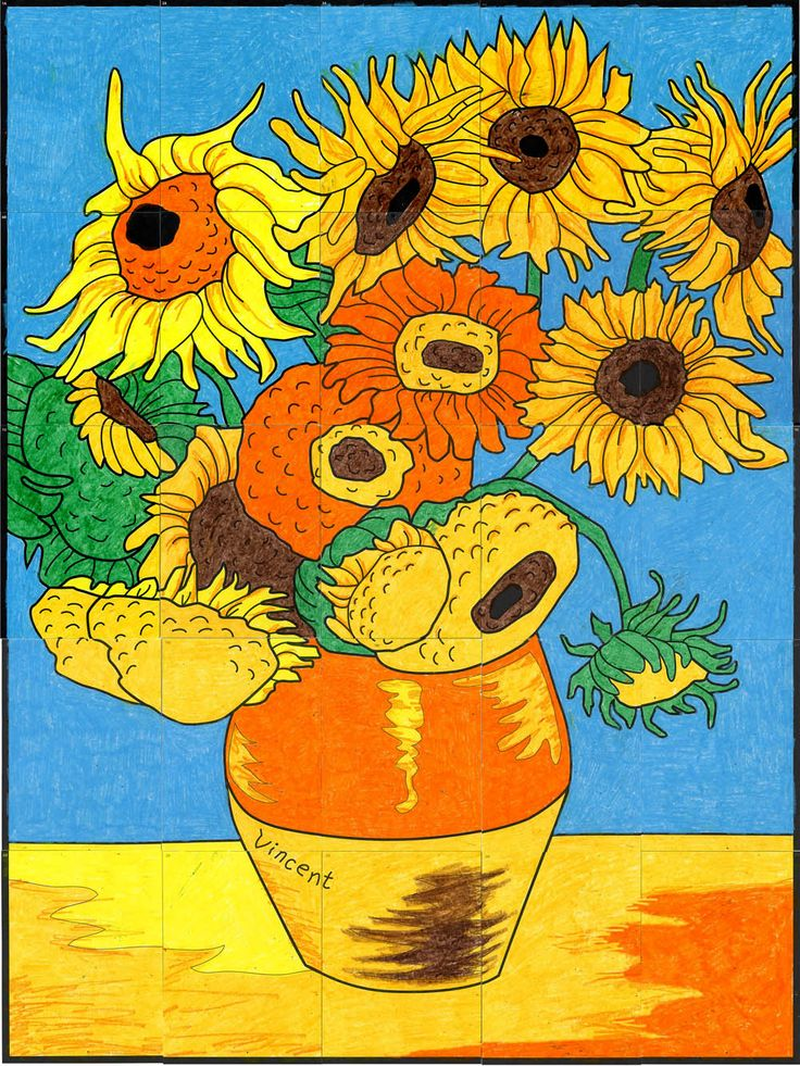 Van Gogh's Sunflower Mural | Art ideas | Van gogh art, Van ...