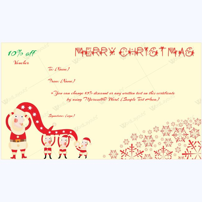 61 best Merry Christmas Gift Certificate Templates images on - how to create a gift certificate in word