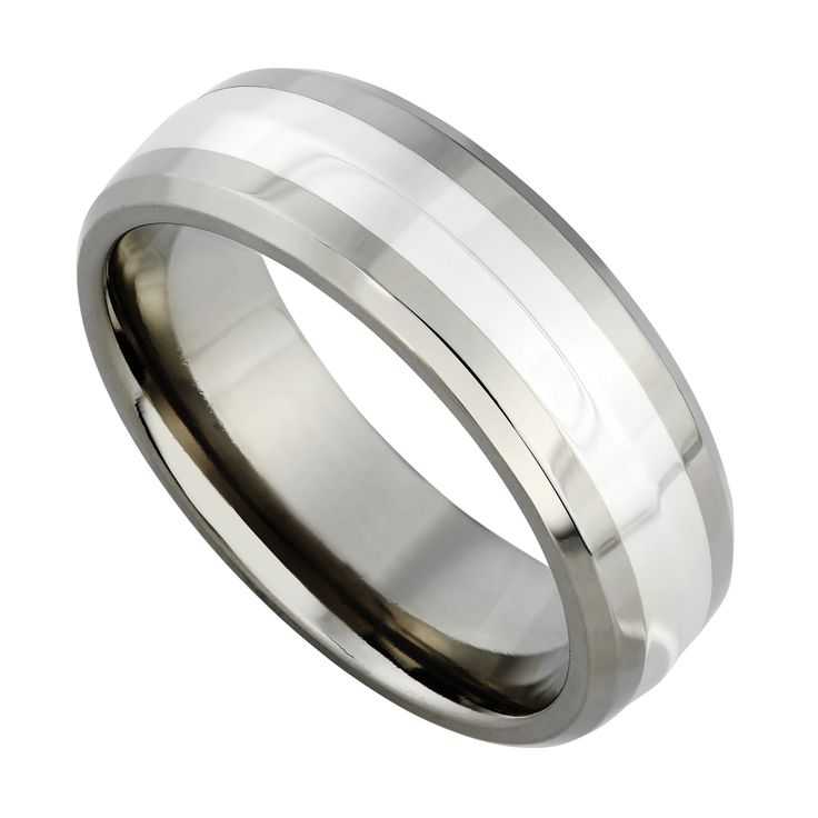 Mens Titanium And Silver 7mm Ring
