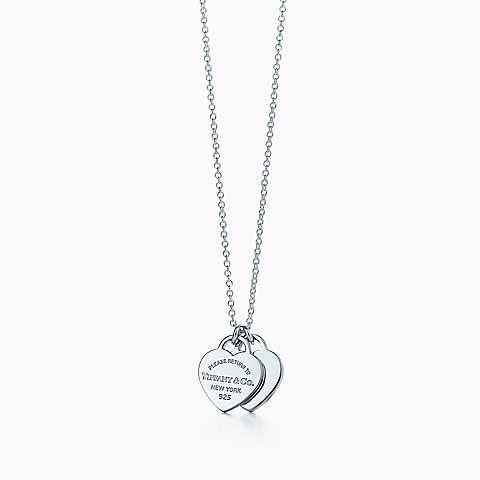 Pendente con doppio ciondolo a cuore Return to Tiffany™ in argento, mini.
