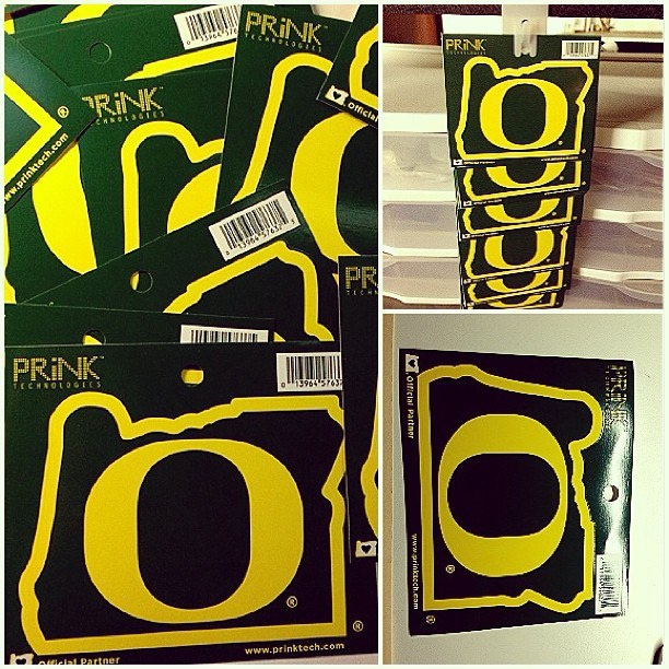 University of Oregon, Heart in Oregon sticker now available at the UO Bookstore, Made in Oregon and at prinktech.com!