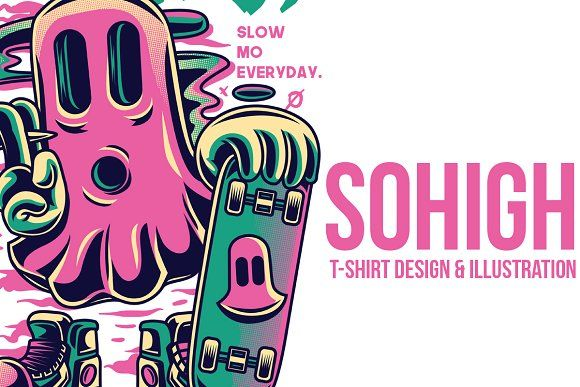 Sohigh Illustration by badsyxn on @creativemarket  #vector #editable #design #tshirt, #tees #cloth #clothingline #unique #awesome #cool #badass #nice #online #shop #brand #artwork #freelance #custom #apparel #product #bussiness #community #streetart #ghost #stoned #high #skate #great