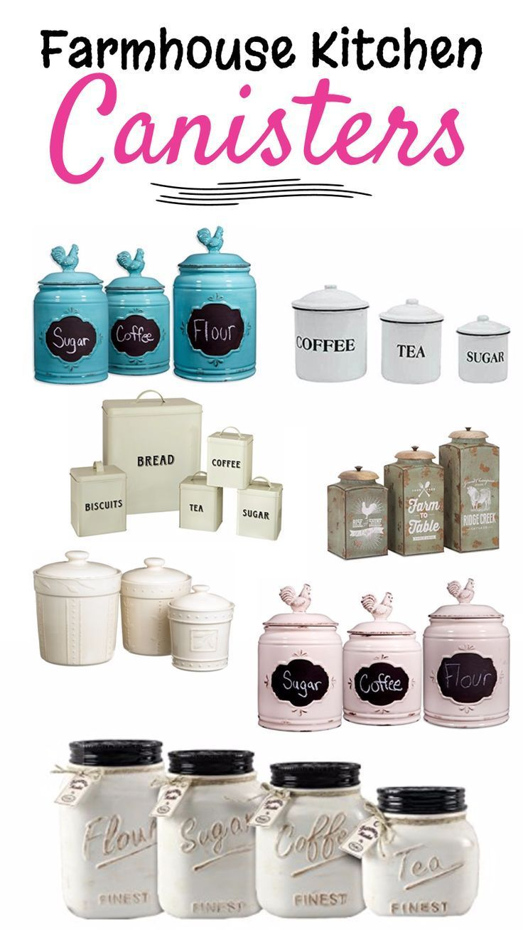Great page with lots of great ideas for kitchen canisters sets that would look great in a white farmhouse kitchen, rustic kitchen, or with ANY kitchen decor.  Perfect storage solutions for the kitchen counter for your coffee, tea, sugar and flour canisters.