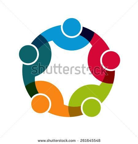 Teamwork Social Network logo, Group of 5 people business relationship and collaboration.